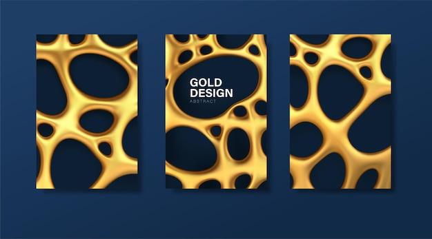 Conjunto de banners de luxo com malha irregular orgânica dourada abstrata com orifícios. Vetor Premium