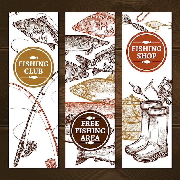 Conjunto de banners de mão desenhada de pesca Vetor grátis
