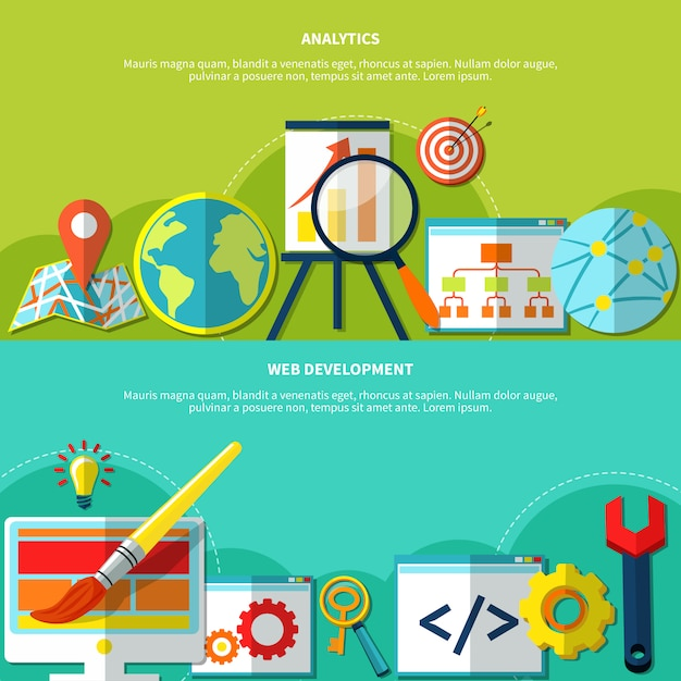 Conjunto de banners de marketing online Vetor grátis