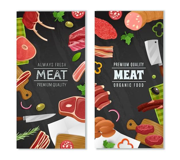 Conjunto de banners de mercado de carne Vetor grátis
