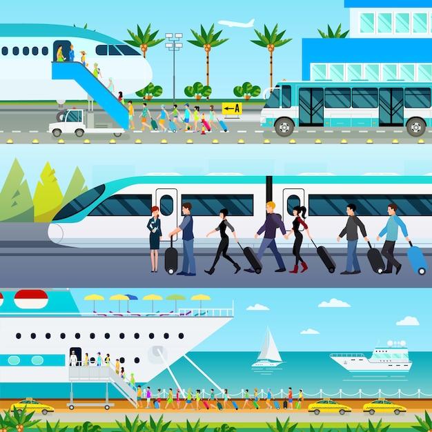 Conjunto de banners de modos de transporte Vetor grátis