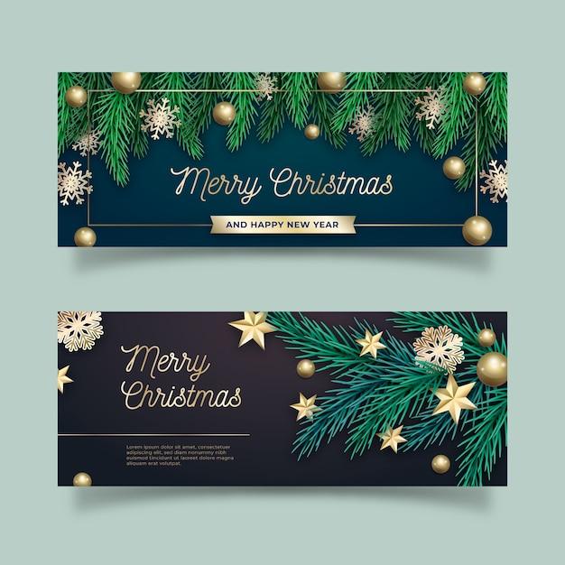 Conjunto de banners de natal realistas Vetor grátis