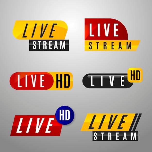 Conjunto de banners de notícias de transmissão ao vivo Vetor grátis