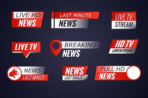 Conjunto de banners de notícias de transmissões ao vivo Vetor Premium