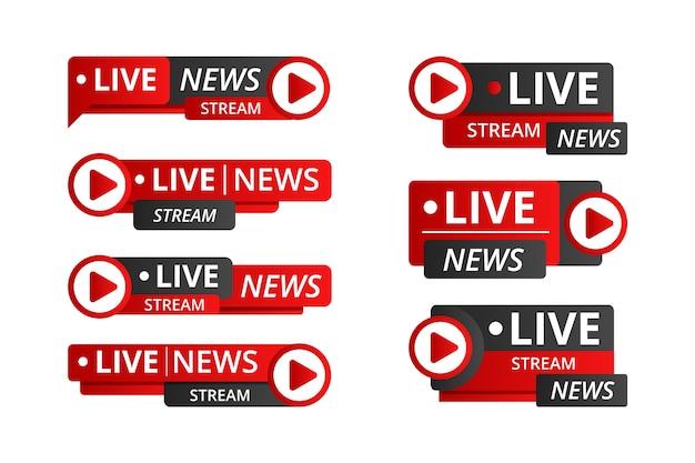 Conjunto de banners de notícias de transmissões ao vivo Vetor grátis