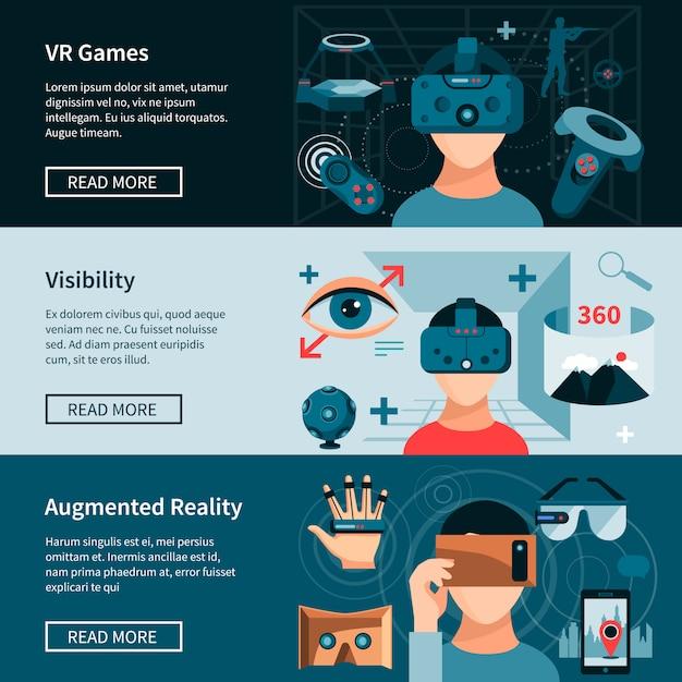 Conjunto de banners de página da web horizontal de realidade virtual Vetor grátis