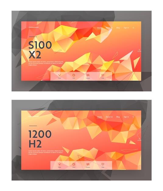 Conjunto de banners de página de destino de site de estilo low poly, fundo moderno com padrão poligonal de triângulo. desenho geométrico criativo em cores de estilo origami, vermelho, laranja amarelo. página da web, ilustração vetorial Vetor Premium