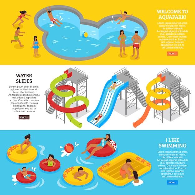 Conjunto de banners de parque aquático Vetor grátis