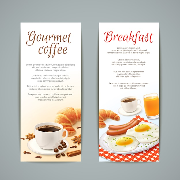 Conjunto de banners de pequeno-almoço Vetor grátis