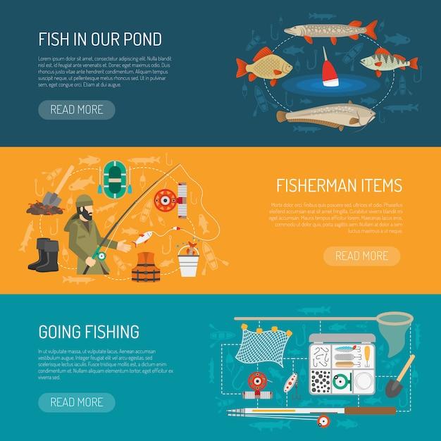 Conjunto de banners de pesca Vetor grátis