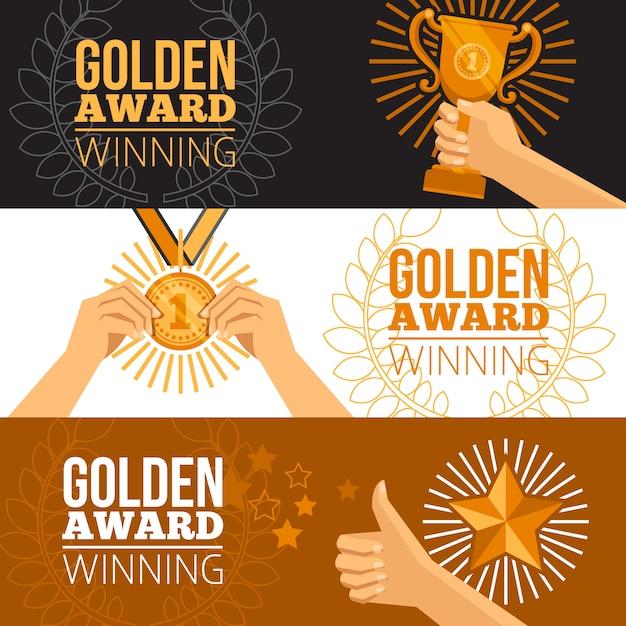Conjunto de banners de prêmios Vetor grátis