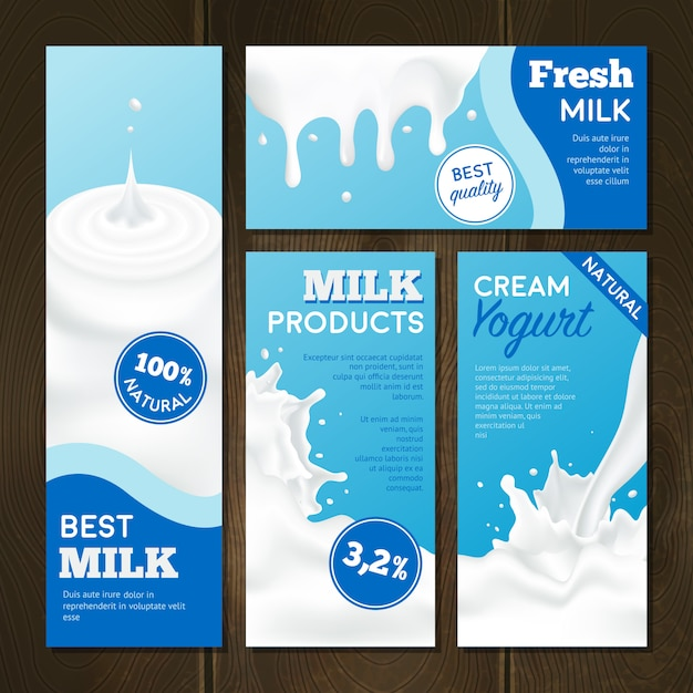 Conjunto de banners de produtos lácteos Vetor grátis