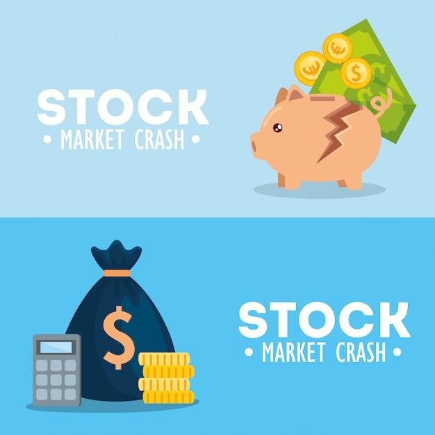 Conjunto de banners de queda do mercado de ações Vetor grátis