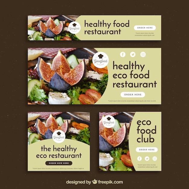 Conjunto de banners de restaurante com foto Vetor grátis