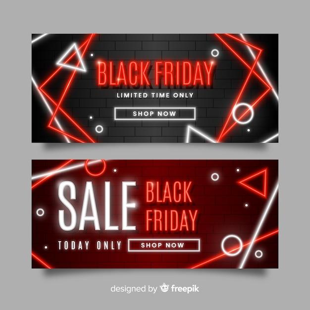 Conjunto de banners de sexta-feira negra de néon Vetor grátis