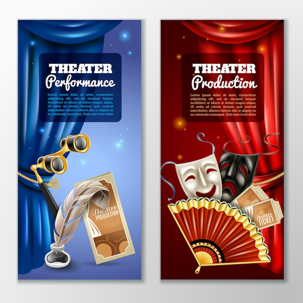 Conjunto de banners de teatro Vetor grátis