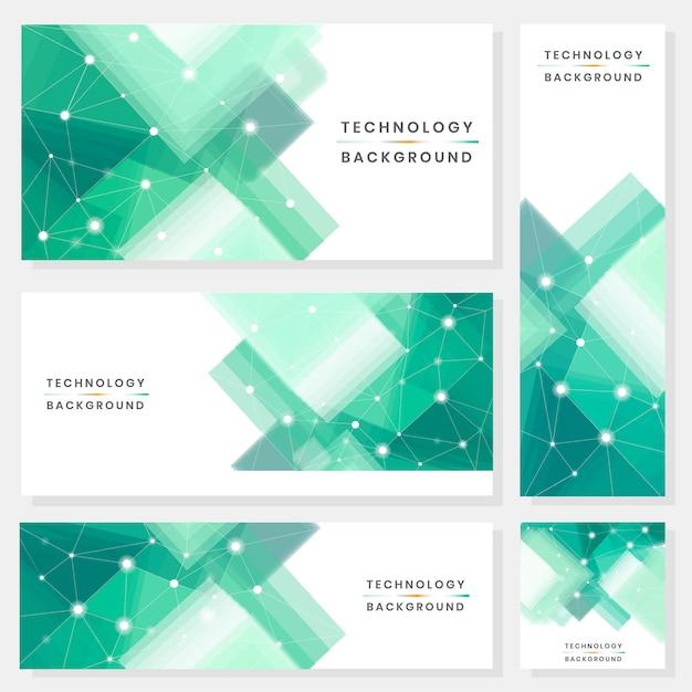 Conjunto de banners de tecnologia Vetor grátis