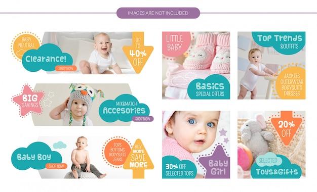 Conjunto de banners de venda de loja de bebê Vetor Premium