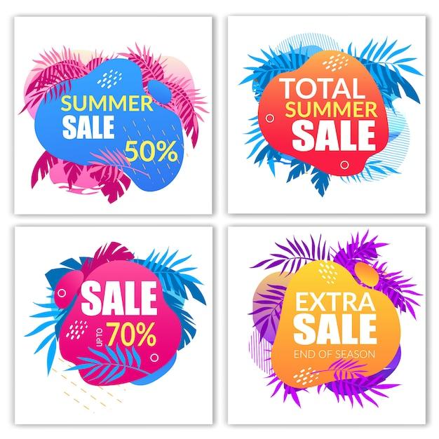 Conjunto de banners de venda de verão com elementos de estilo doodle Vetor Premium