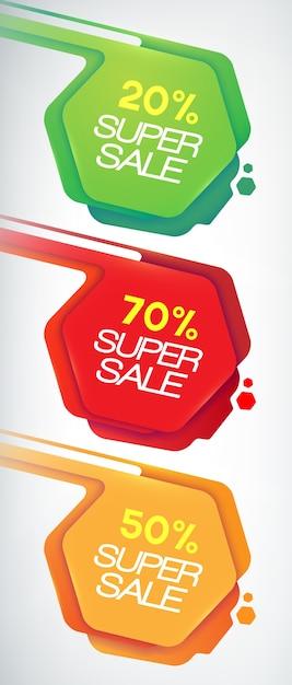 Conjunto de banners de venda. descontos e ofertas para o seu negócio., eps10, contém transparências Vetor grátis