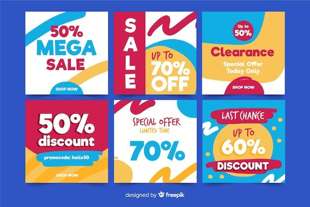 Conjunto de banners de venda quadrados para promoção no instagram ou mídias sociais Vetor grátis