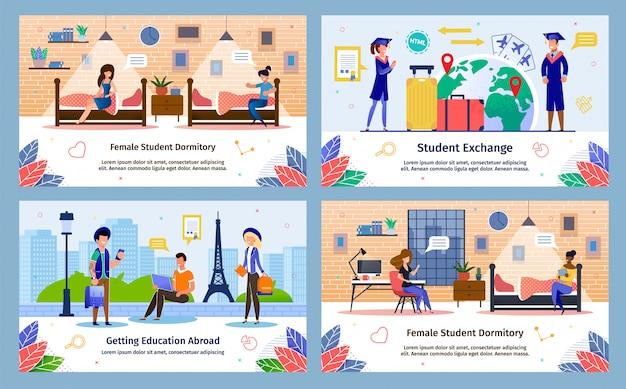 Conjunto de banners de vetor plana de programa de intercâmbio de estudantes Vetor Premium