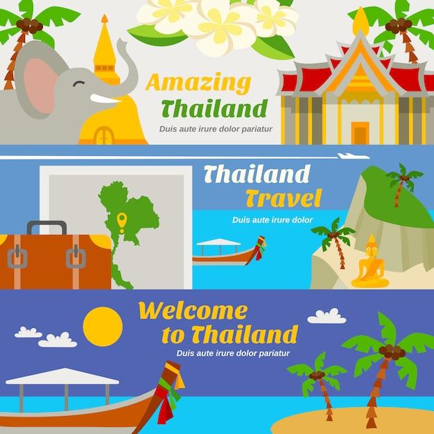 Conjunto de banners de viagens tailândia Vetor grátis
