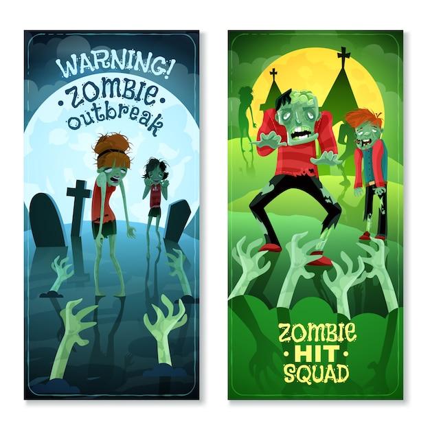Conjunto de banners de zumbis Vetor grátis
