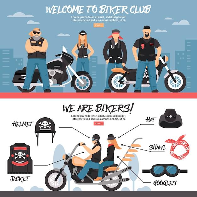 Conjunto de banners do clube do motociclista Vetor grátis