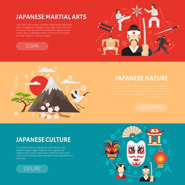 Conjunto de banners do japão Vetor grátis
