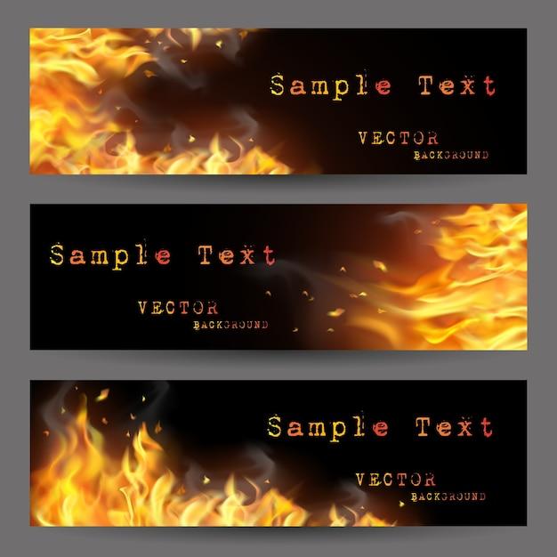 Conjunto de banners fire flame Vetor grátis