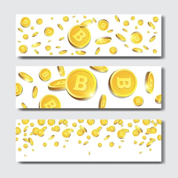 Conjunto de banners horizontais com bitcoins dourados Vetor Premium