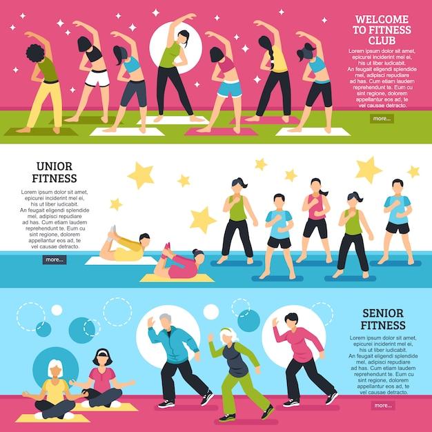 Conjunto de banners horizontais de aulas de fitness Vetor grátis