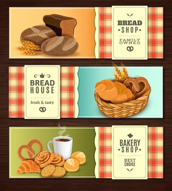 Conjunto de banners horizontais de casa de pão Vetor grátis
