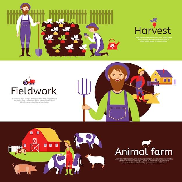 Conjunto de banners horizontais de colheita de agricultores Vetor grátis