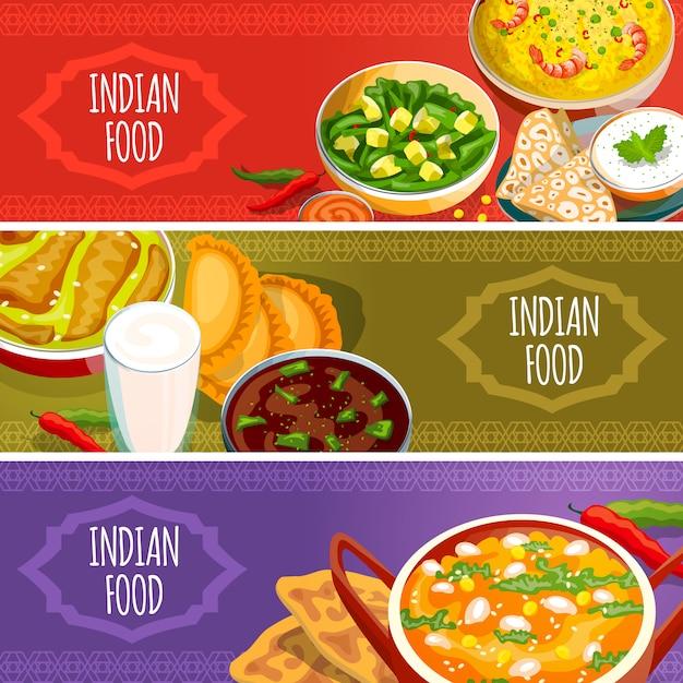 Conjunto de banners horizontais de comida indiana Vetor grátis