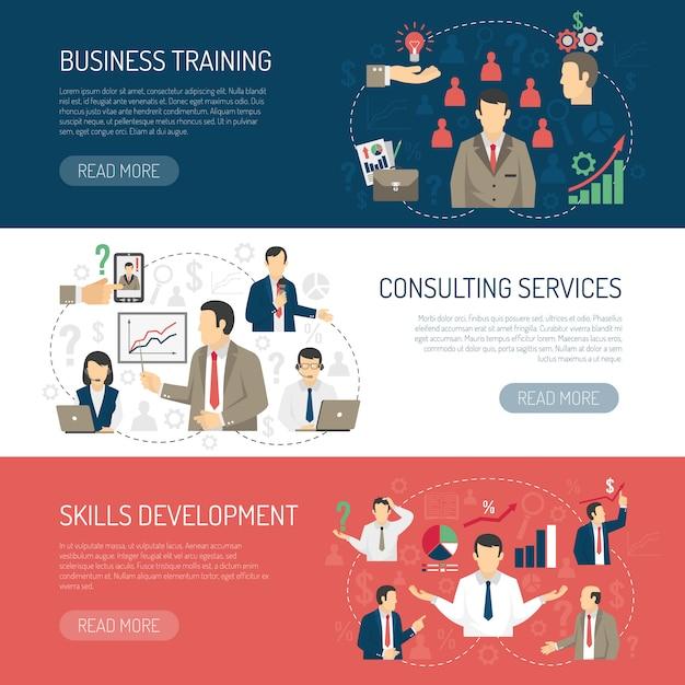 Conjunto de banners horizontais de consultoria de treinamento de negócios Vetor grátis