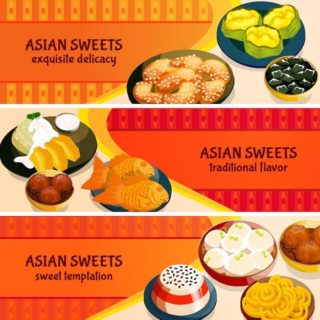Conjunto de banners horizontais de doces asiáticos Vetor grátis