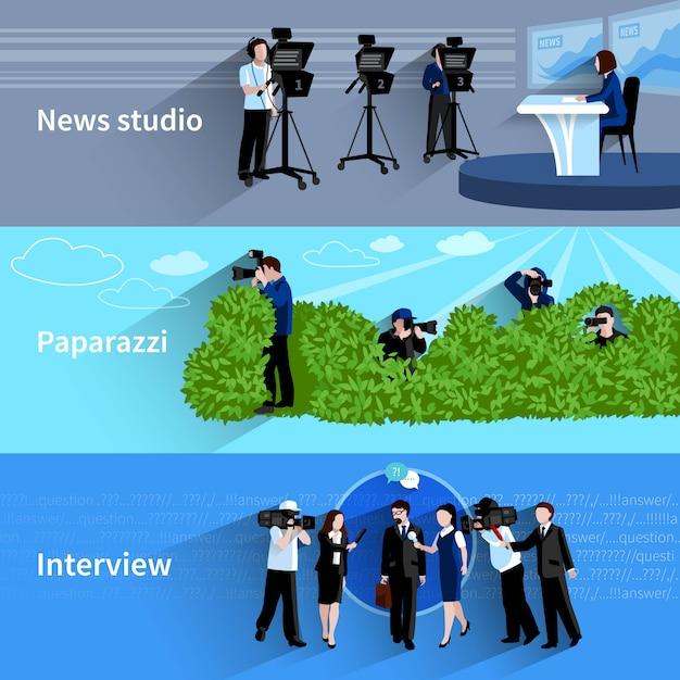 Conjunto de banners horizontais de fotógrafo e cinegrafista Vetor Premium