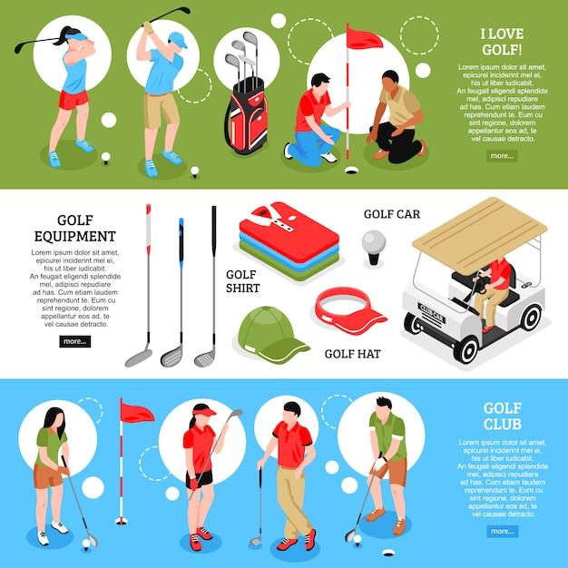Conjunto de banners horizontais de golfe Vetor grátis