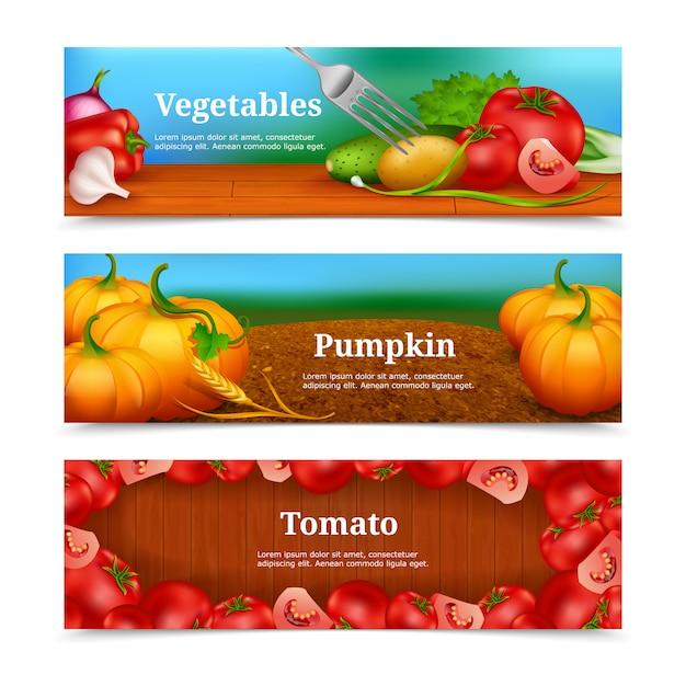 Conjunto de banners horizontais de legumes Vetor grátis