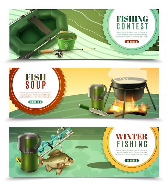 Conjunto de banners horizontais de pesca esportiva Vetor grátis