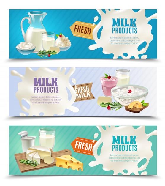 Conjunto de banners horizontais de produtos lácteos Vetor grátis
