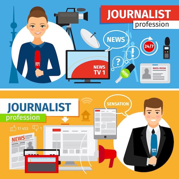 Conjunto de banners horizontais de profissão de jornalista e notícias Vetor Premium