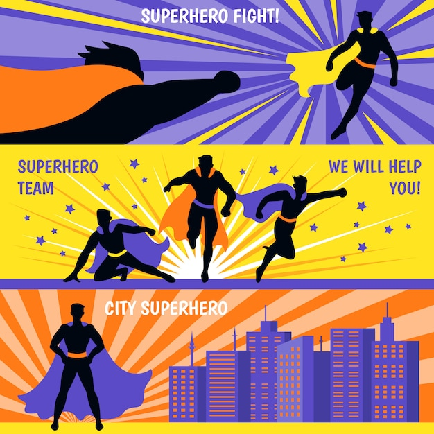 Conjunto de banners horizontais de super-heróis Vetor grátis