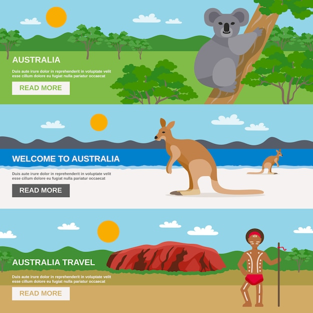 Conjunto de banners horizontais de viagem austrália Vetor grátis