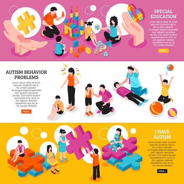 Conjunto de banners horizontais isométricos conscientização do autismo problemas de educação e comportamento especiais Vetor grátis