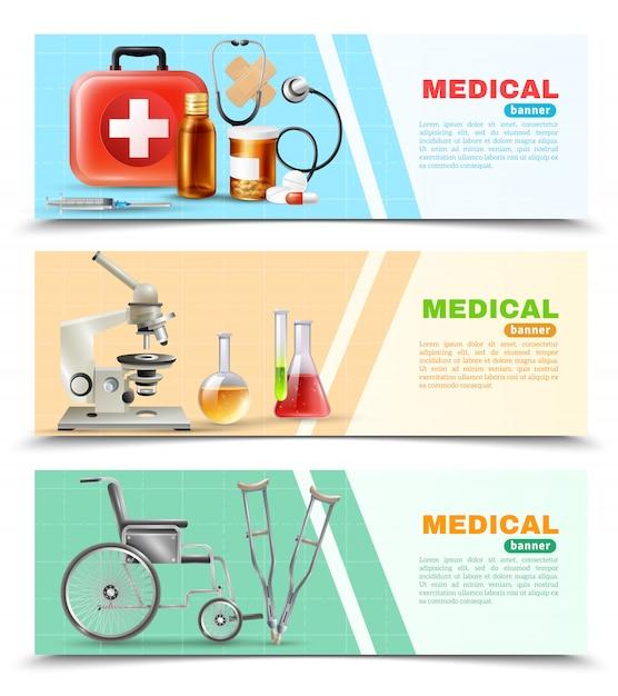Conjunto de banners horizontais médicas plano de saúde Vetor grátis