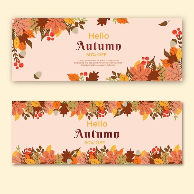 Conjunto de banners horizontais no meio do outono Vetor grátis