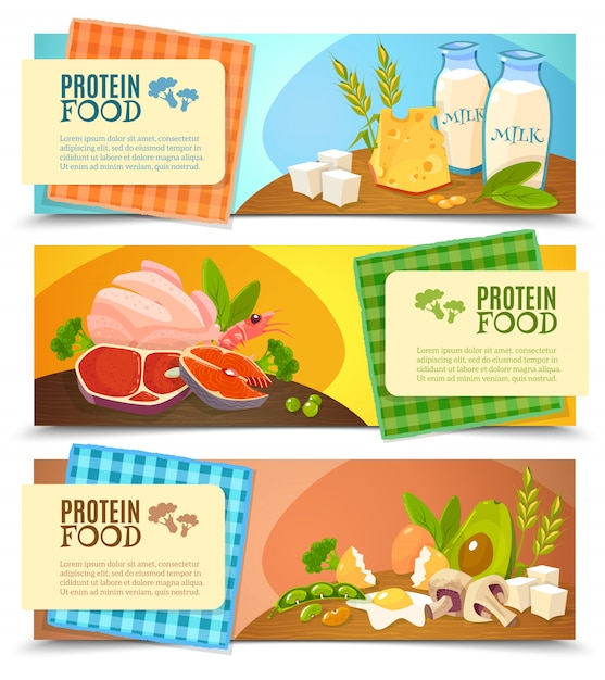 Conjunto de banners horizontais plana de alimentos de proteína Vetor grátis